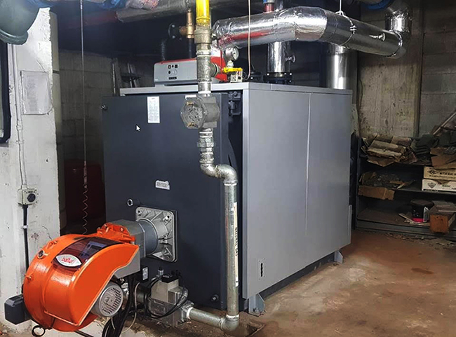 Unical 760kw industrial hot water boiler installed at Newmarket pool